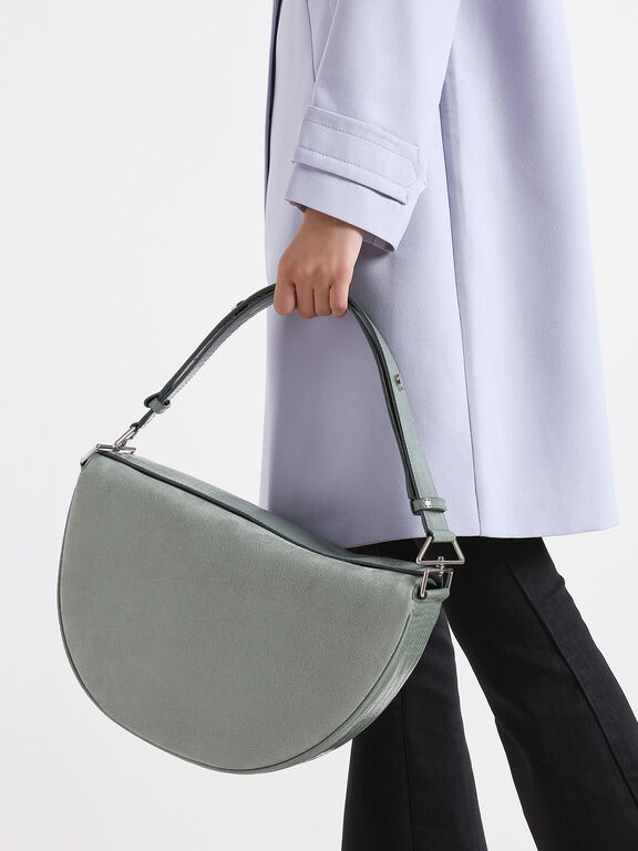 Textured Saddle Bag, Sage Green