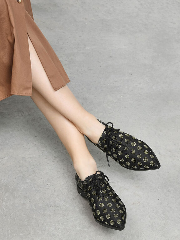Pointed Oxfords, Black Textured