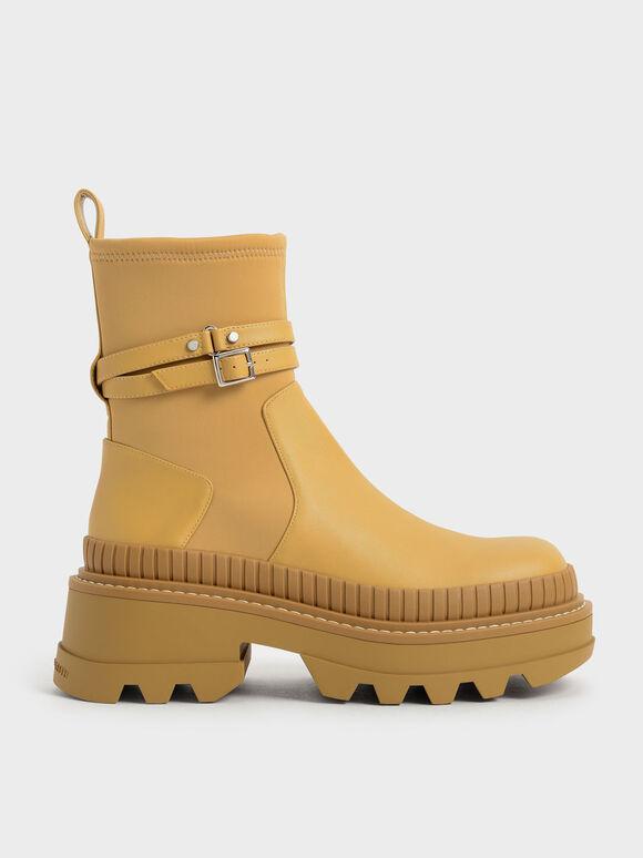 拼接厚底短靴, 芥末, hi-res