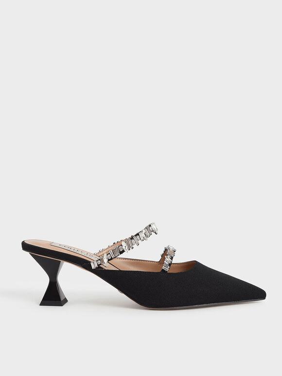 寶石雙帶帆布穆勒鞋, 黑色, hi-res
