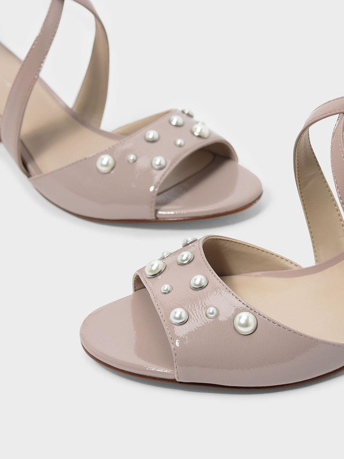 Pearl Detail Criss Cross Heels, Nude, hi-res