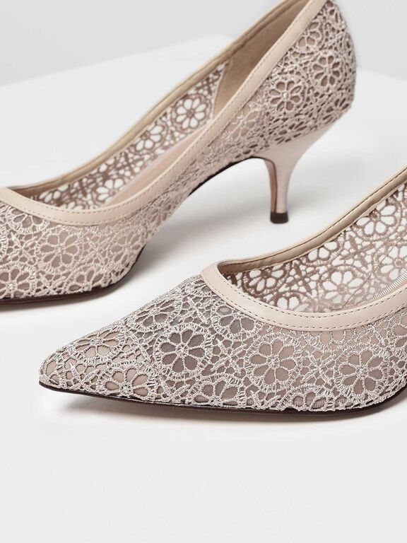 Crochet Lace Pumps, Beige