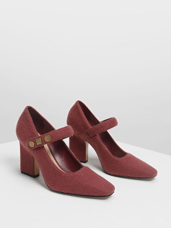 Vintage Button Detail Mary Janes, Burgundy