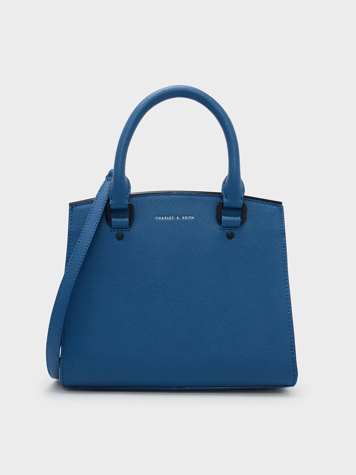 Classic Structured Handbag, Blue, hi-res