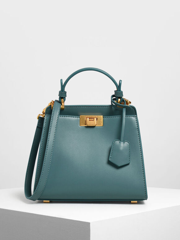 Classic Metal Detail Push Lock Bag, Teal, hi-res