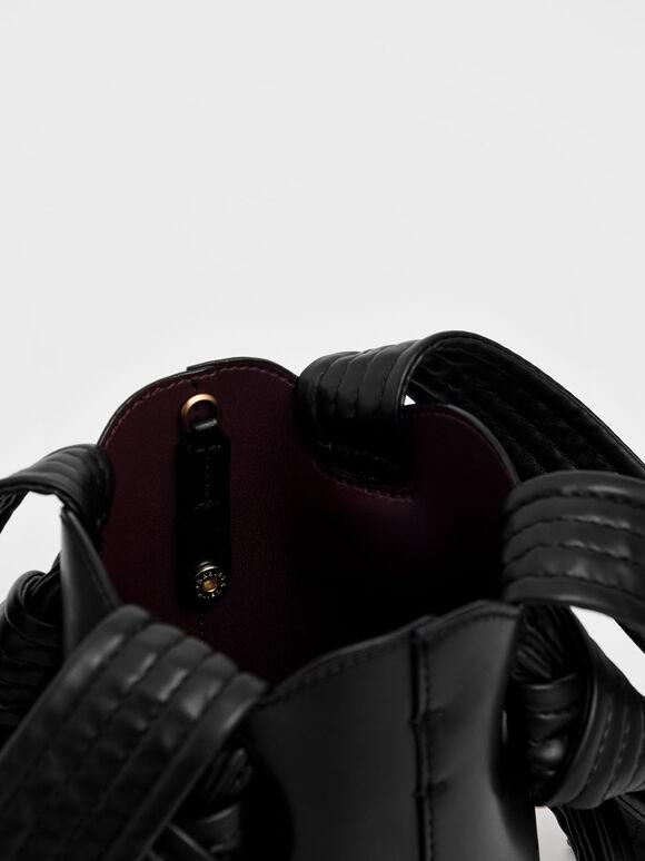 Ruched Knot Handle Bucket Bag, Black, hi-res