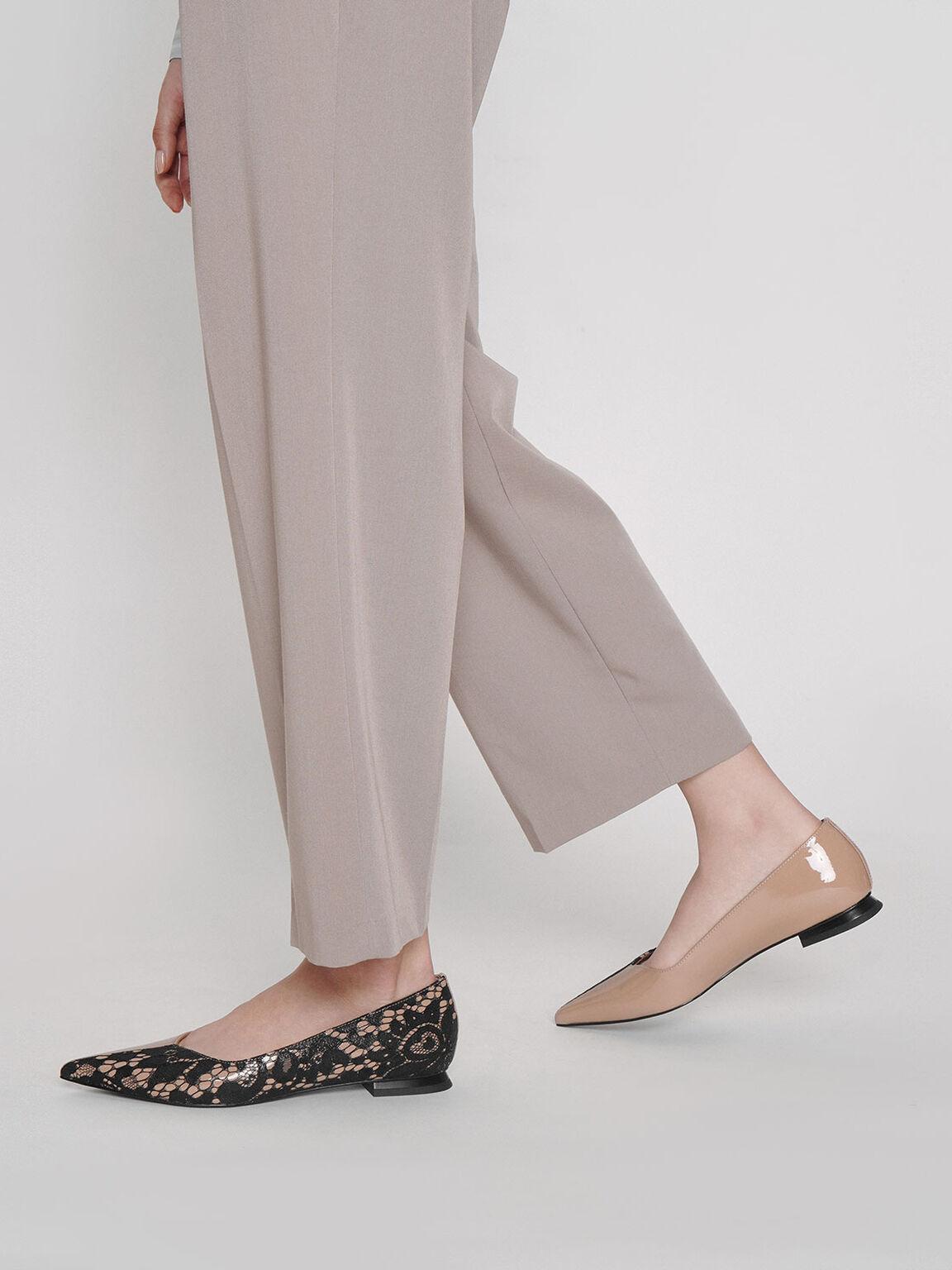 真皮拼接蕾絲尖頭鞋, 黑色特別款, hi-res