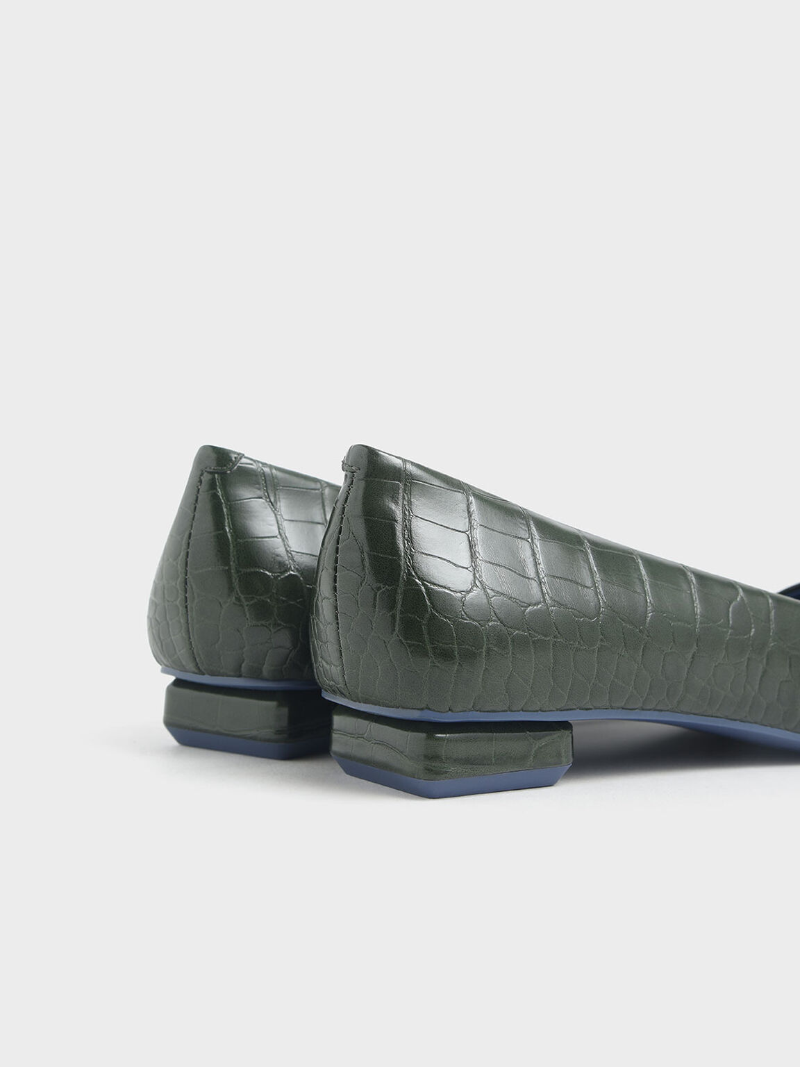 Croc-Effect Square Toe Ballerina Flats, Green, hi-res