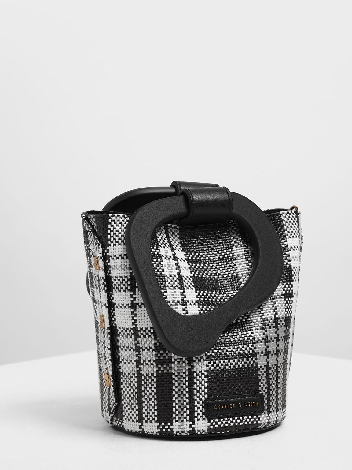 Sculptural Handle Woven Bucket Bag, Black, hi-res