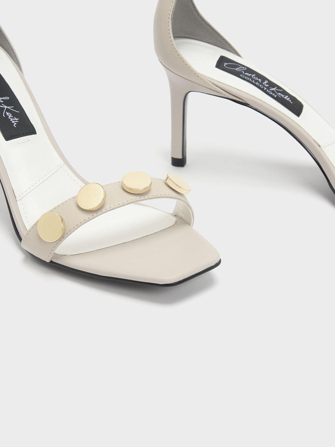 Chrome Button Detail Leather Stiletto Sandals, Chalk, hi-res