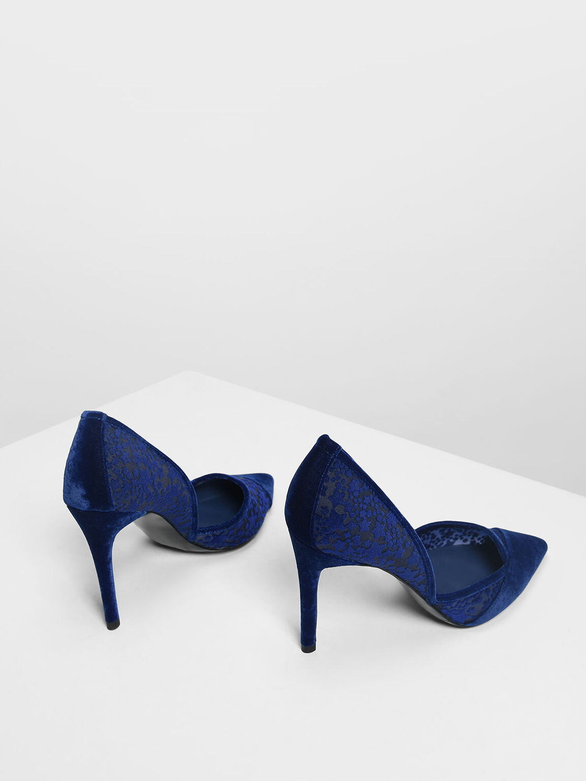 Velvet Flocking Pointed Pumps, Blue, hi-res