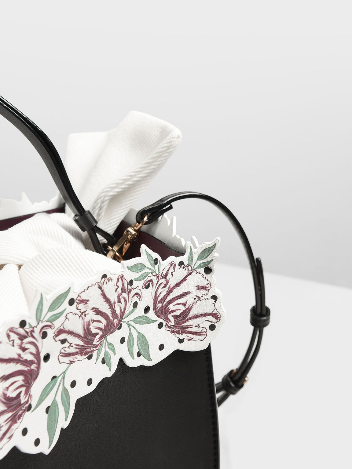 Floral Bucket Bag, Black, hi-res