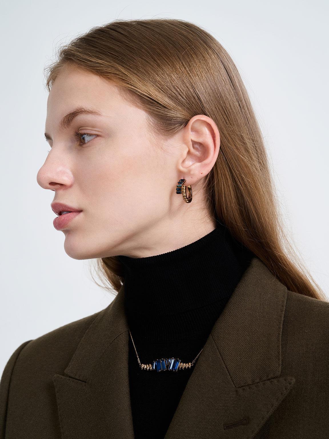 Swarovski® Crystal Embellished Huggie Hoop Earrings, Navy, hi-res