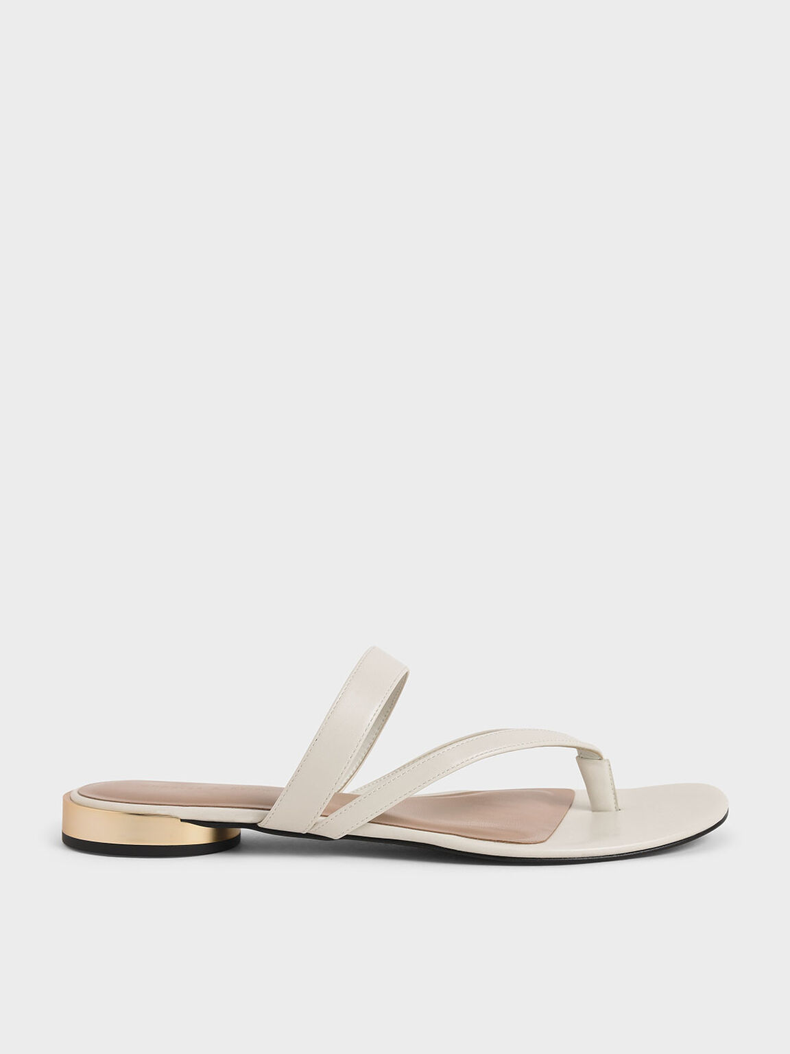 Open-Toe Thong Sandals, Chalk, hi-res