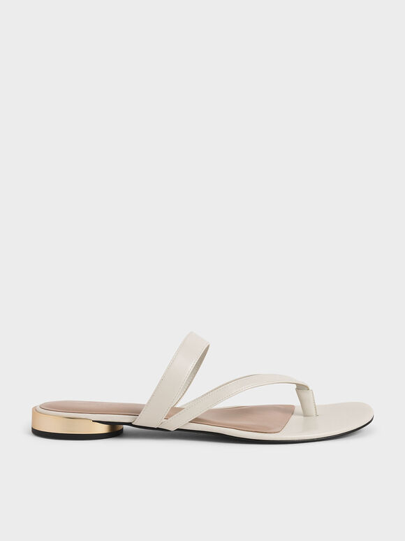 Open-Toe Thong Sandals, Chalk, hi-res