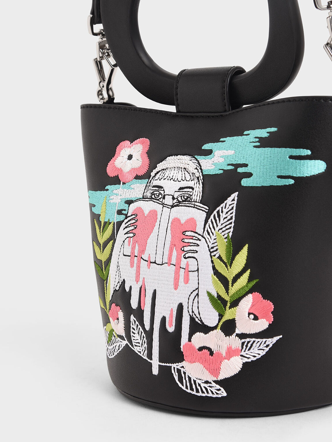CHARLES & KEITH By Teeteeheehee: Sculptural Handle Embroidered Bucket Bag, Black, hi-res