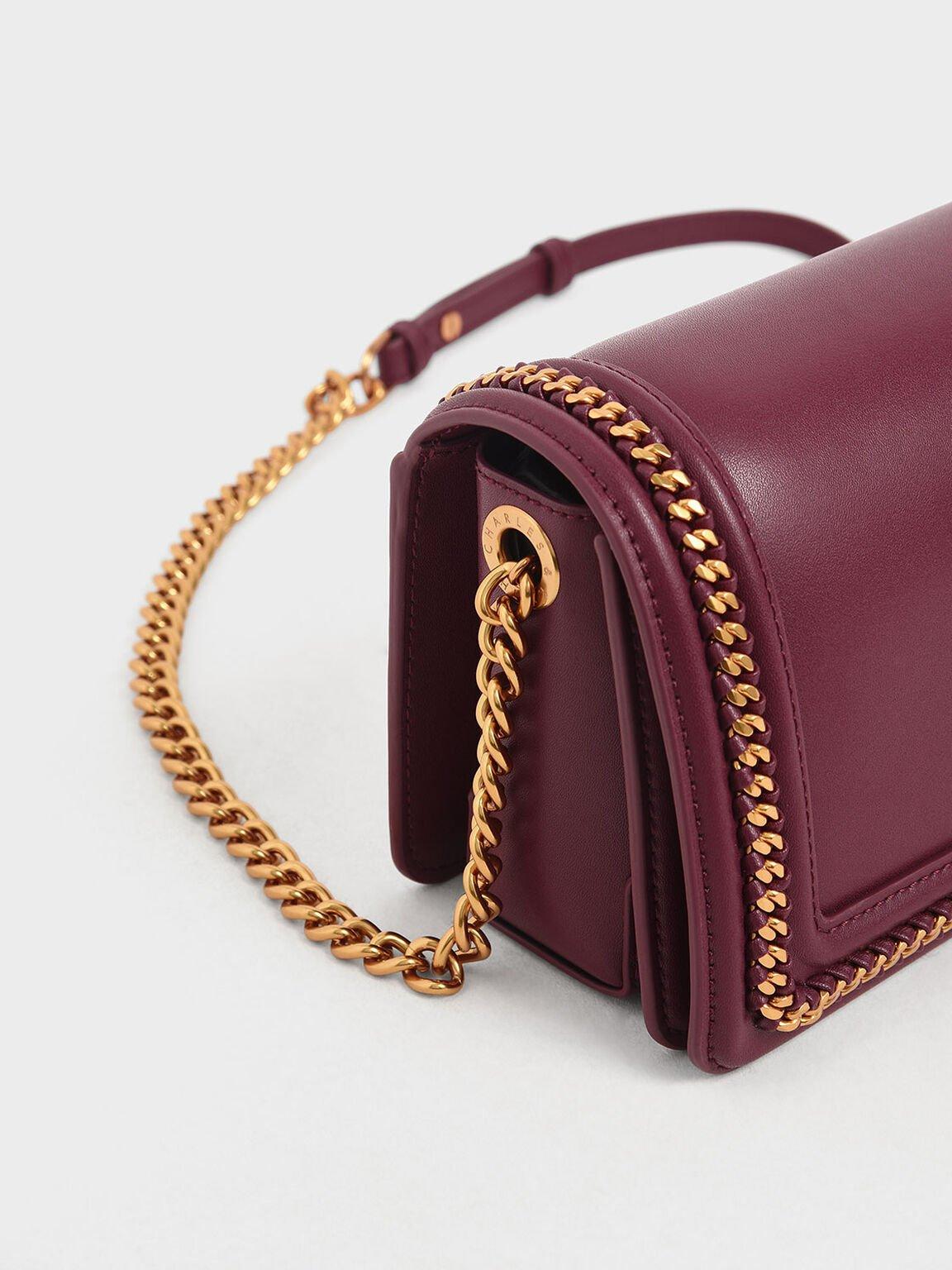 鍊條滾邊斜背包, 深紫紅, hi-res