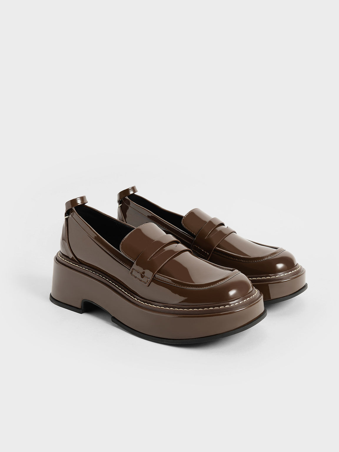 Patent Platform Penny Loafers, Dark Brown, hi-res