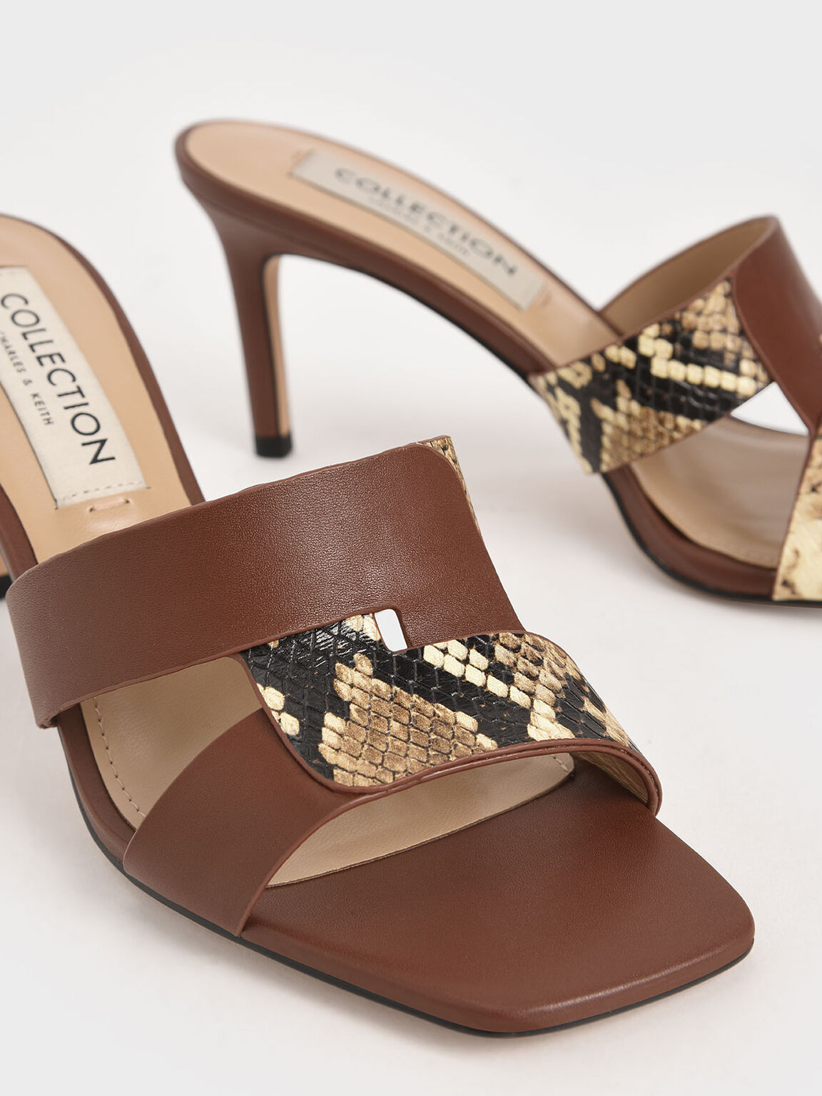 Leather Cut-Out Stiletto Mules, Brown, hi-res