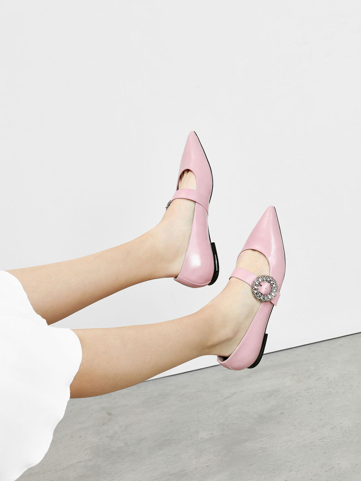 Crushed Gem Effect Buckle Leather Flats, Pink, hi-res