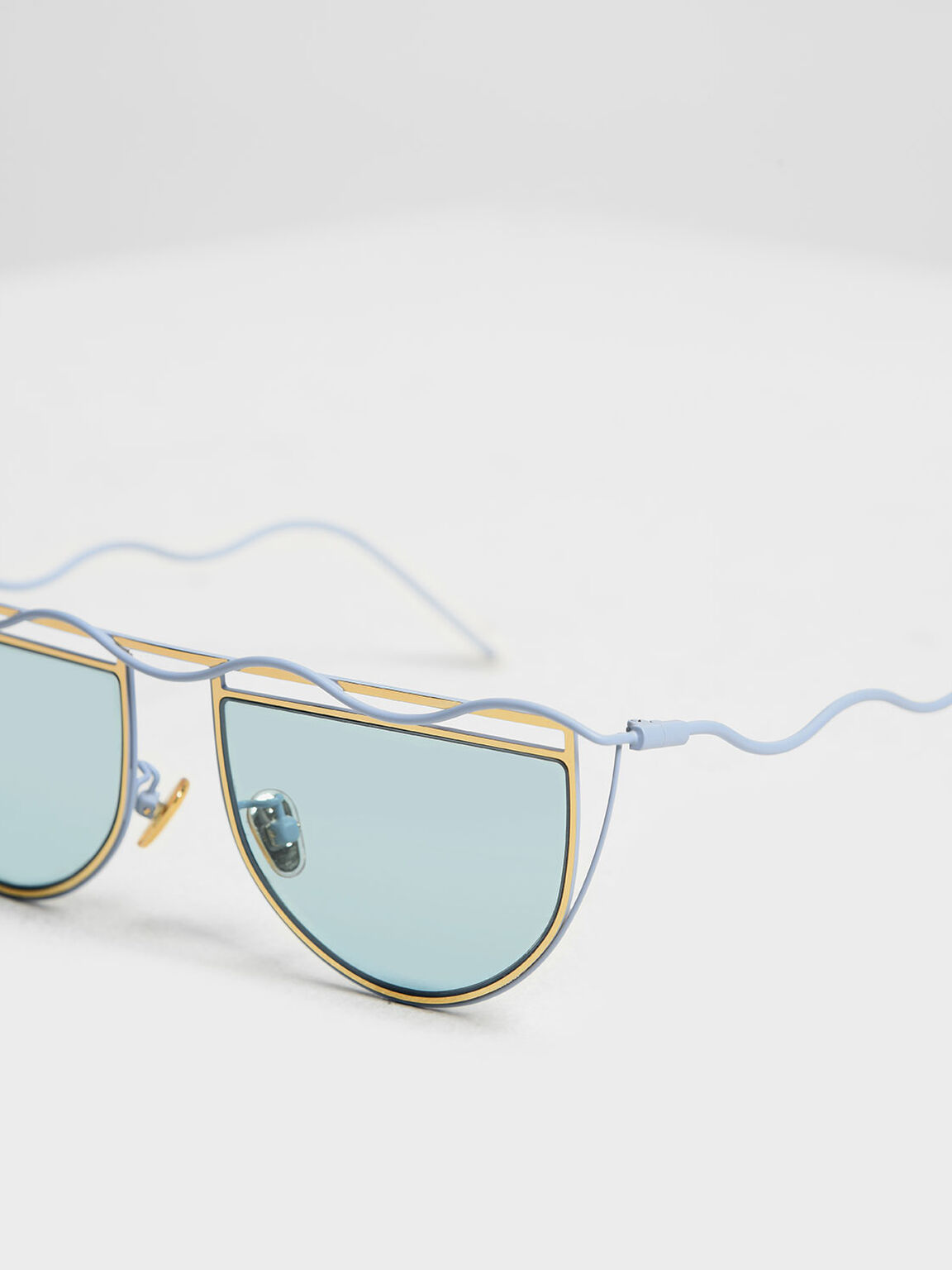 Drop Temple Semi-Circle Sunglasses, Blue, hi-res