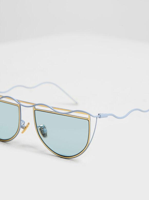 波浪鏡框墨鏡, 藍色, hi-res
