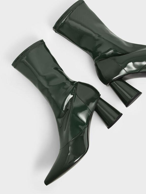 Patent Cylindrical Heel Calf Boots, Green, hi-res