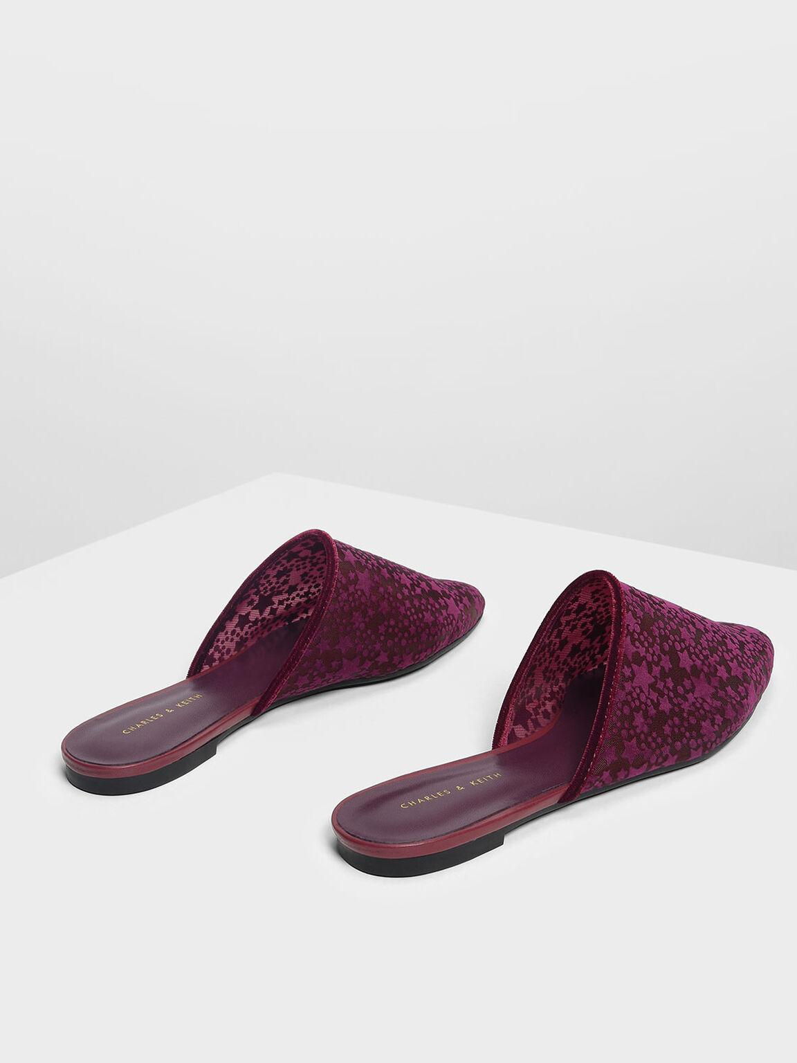 Velvet Flocking Mules, Purple, hi-res