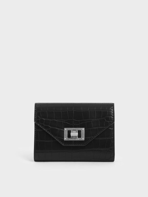 Mini Croc-Effect Short Envelope Wallet, Black Textured, hi-res