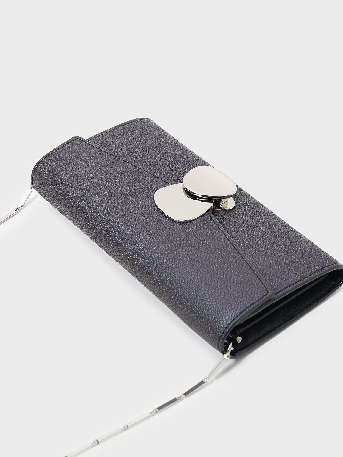 Metal Detail Push-Lock Wallet, Peacock, hi-res