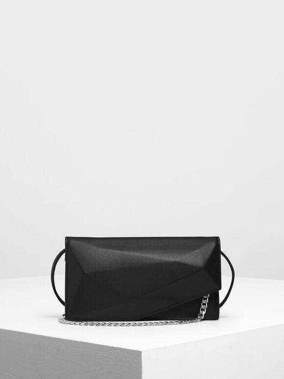 Geometric Chain Link Belt Bag, Black, hi-res