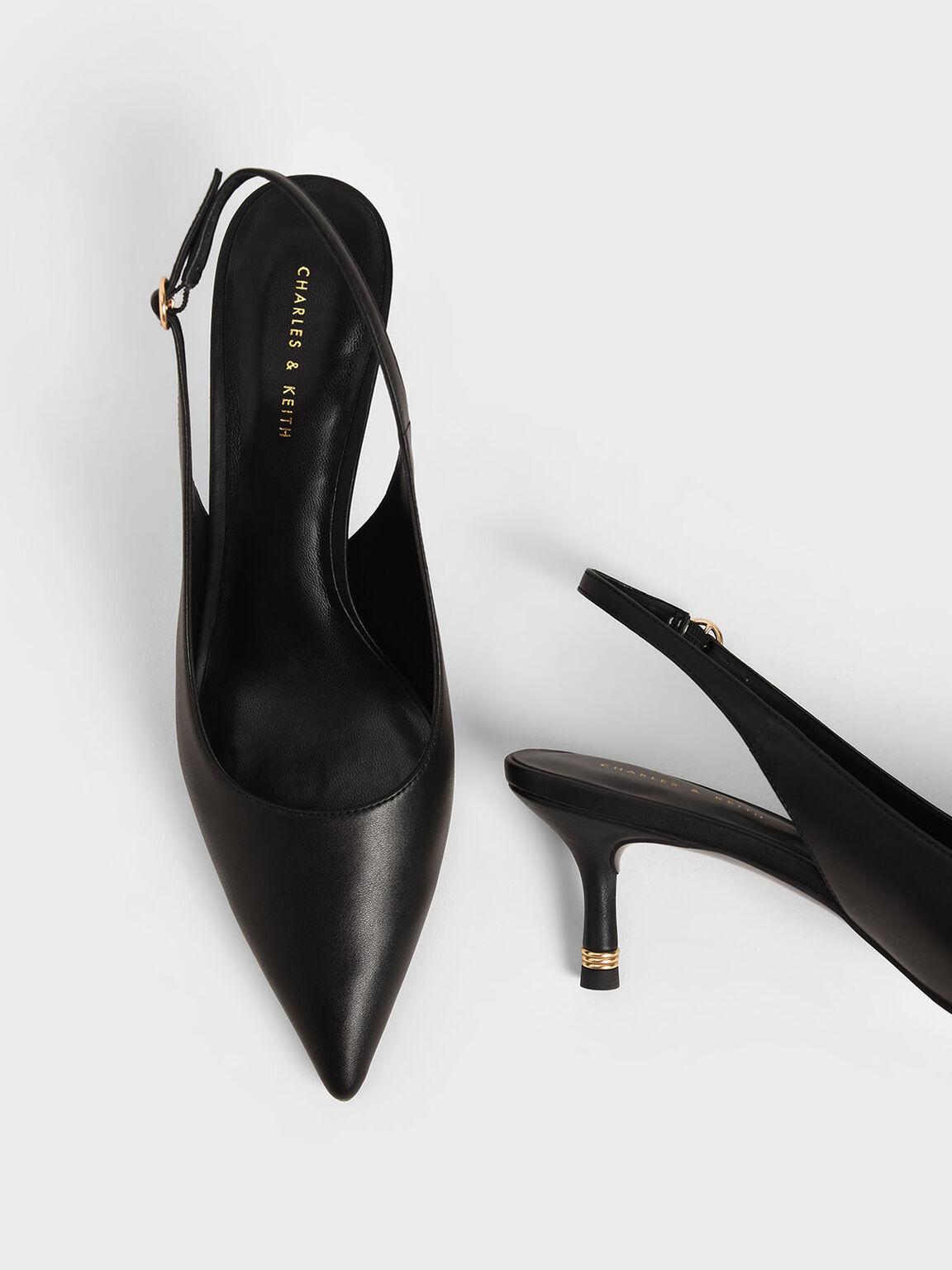 後踝帶尖頭跟鞋, 黑色, hi-res