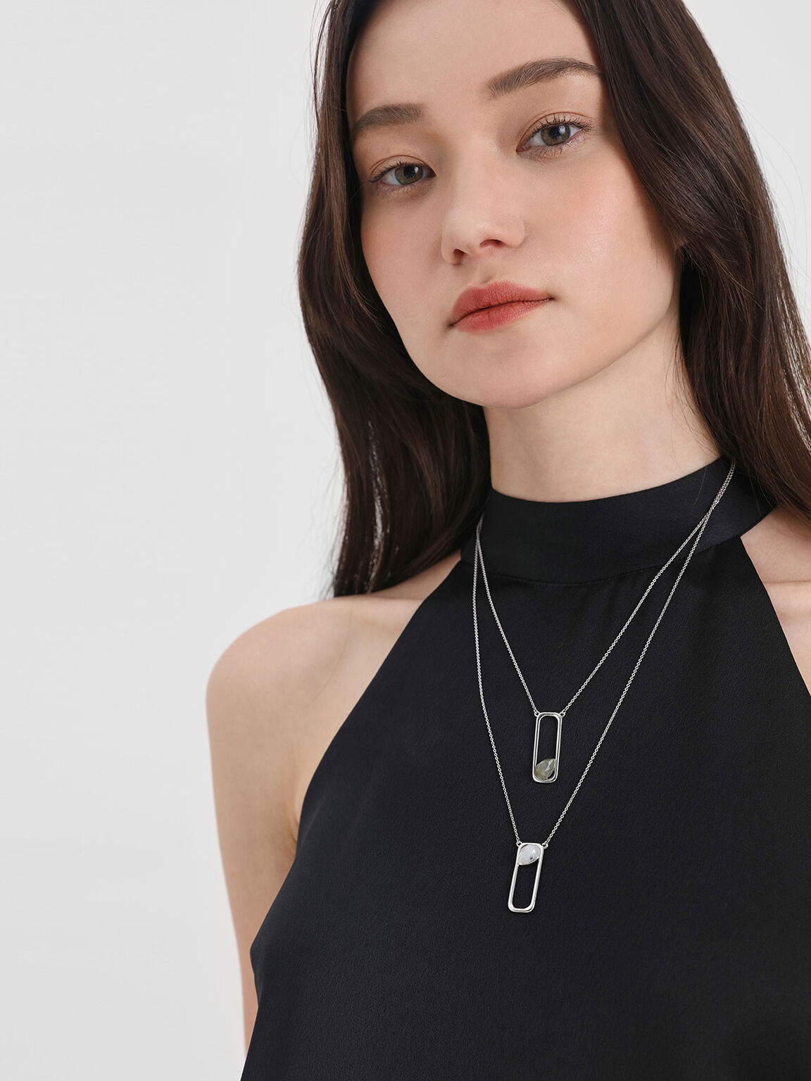 Moonstone Layered Necklace, Silver, hi-res