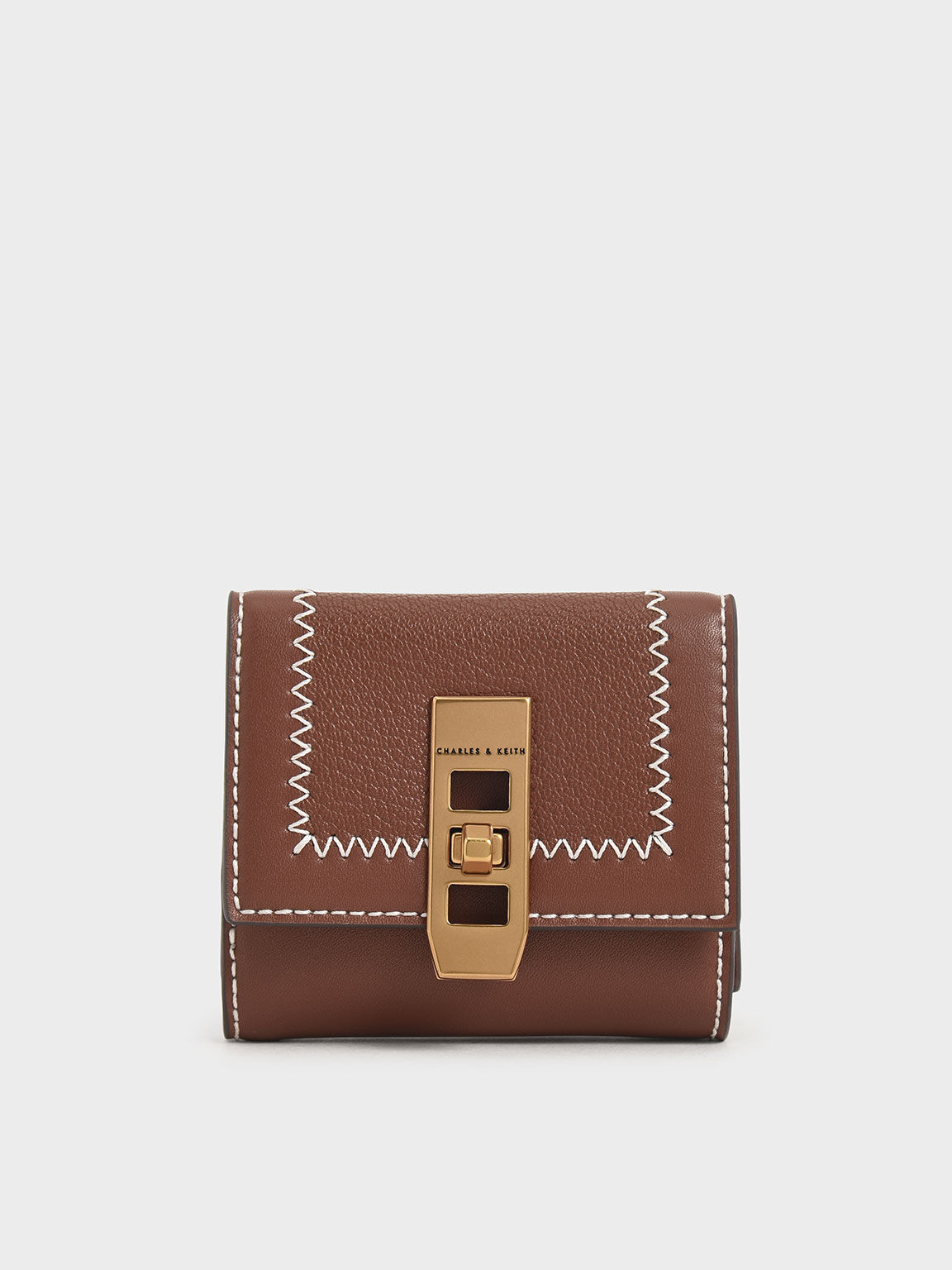 Stitch Trim Turn Lock Wallet, Chocolate, hi-res