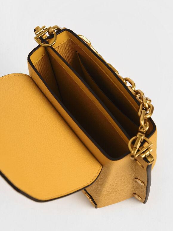 Studded Textured Bag, Yellow, hi-res
