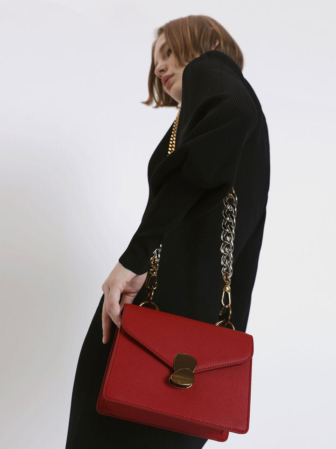 Metal Push Lock Front Flap Bag, Red, hi-res