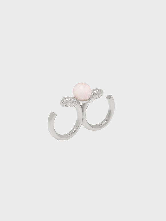 Rose Quartz Double Ring, Silver, hi-res