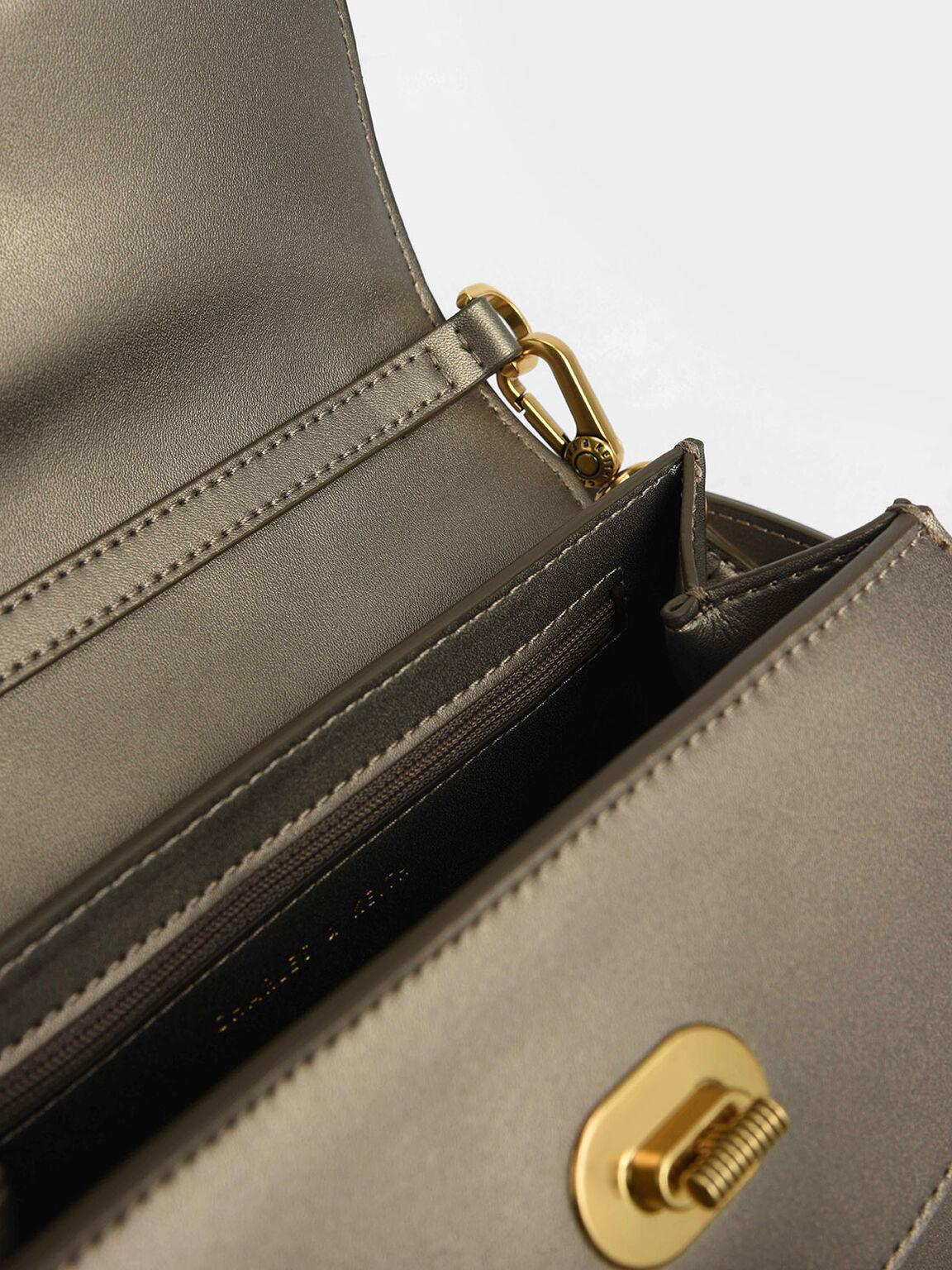Padded Double Pocket Shoulder Bag, Bronze, hi-res
