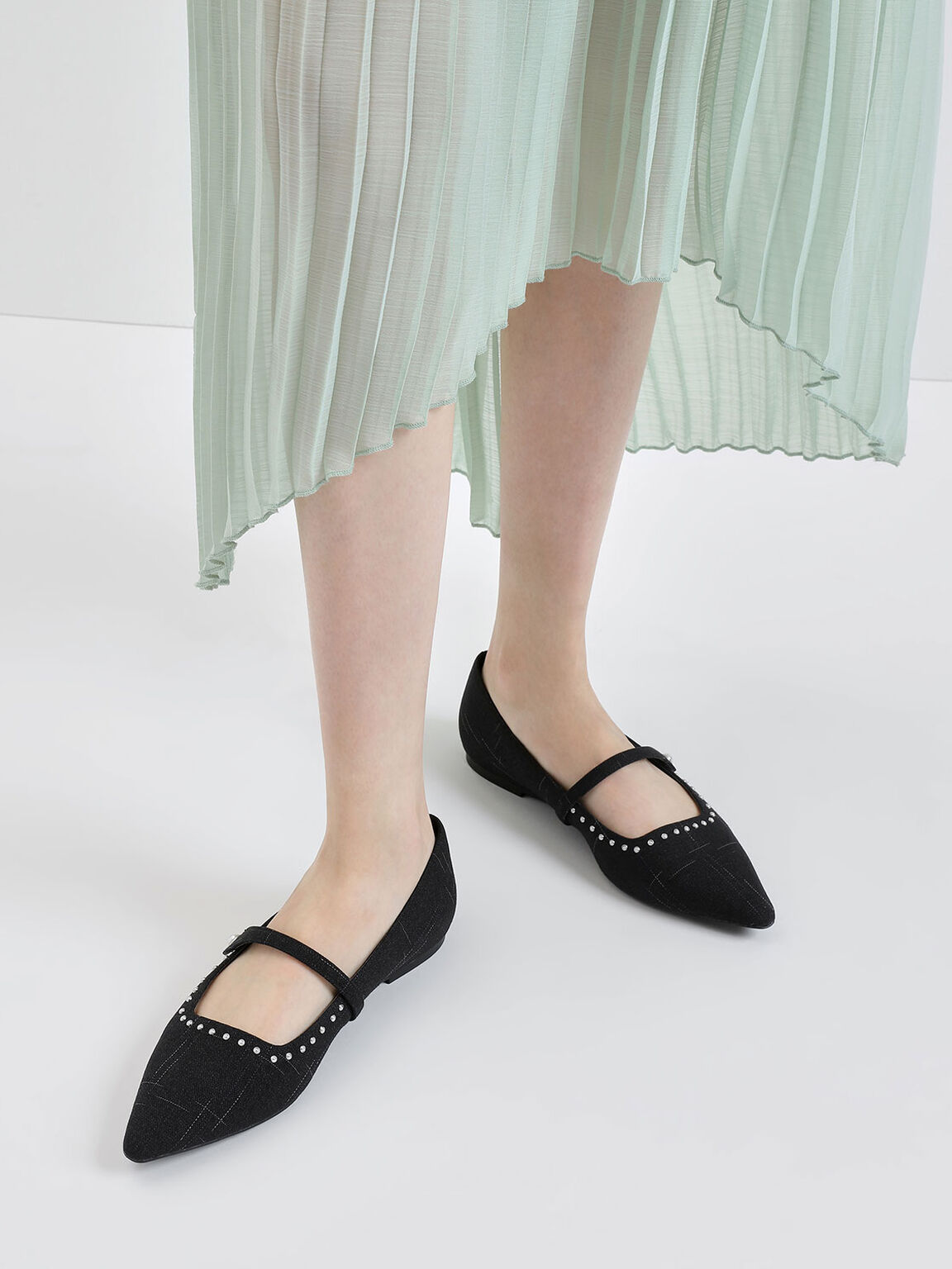 Embellished Trim Fabric Mary Jane Ballerinas, Black Textured, hi-res