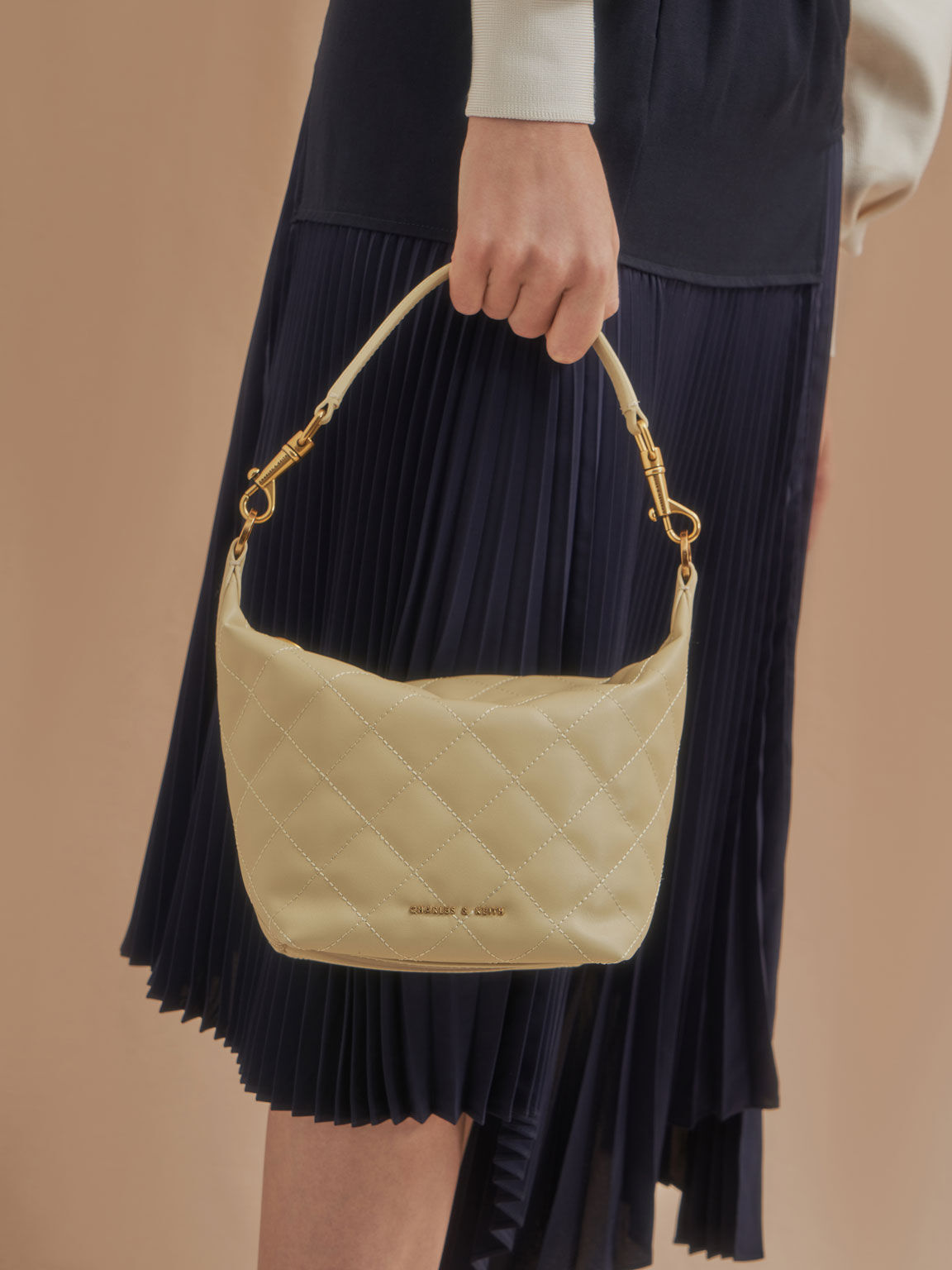 Quilted Hobo Bag, Sand, hi-res