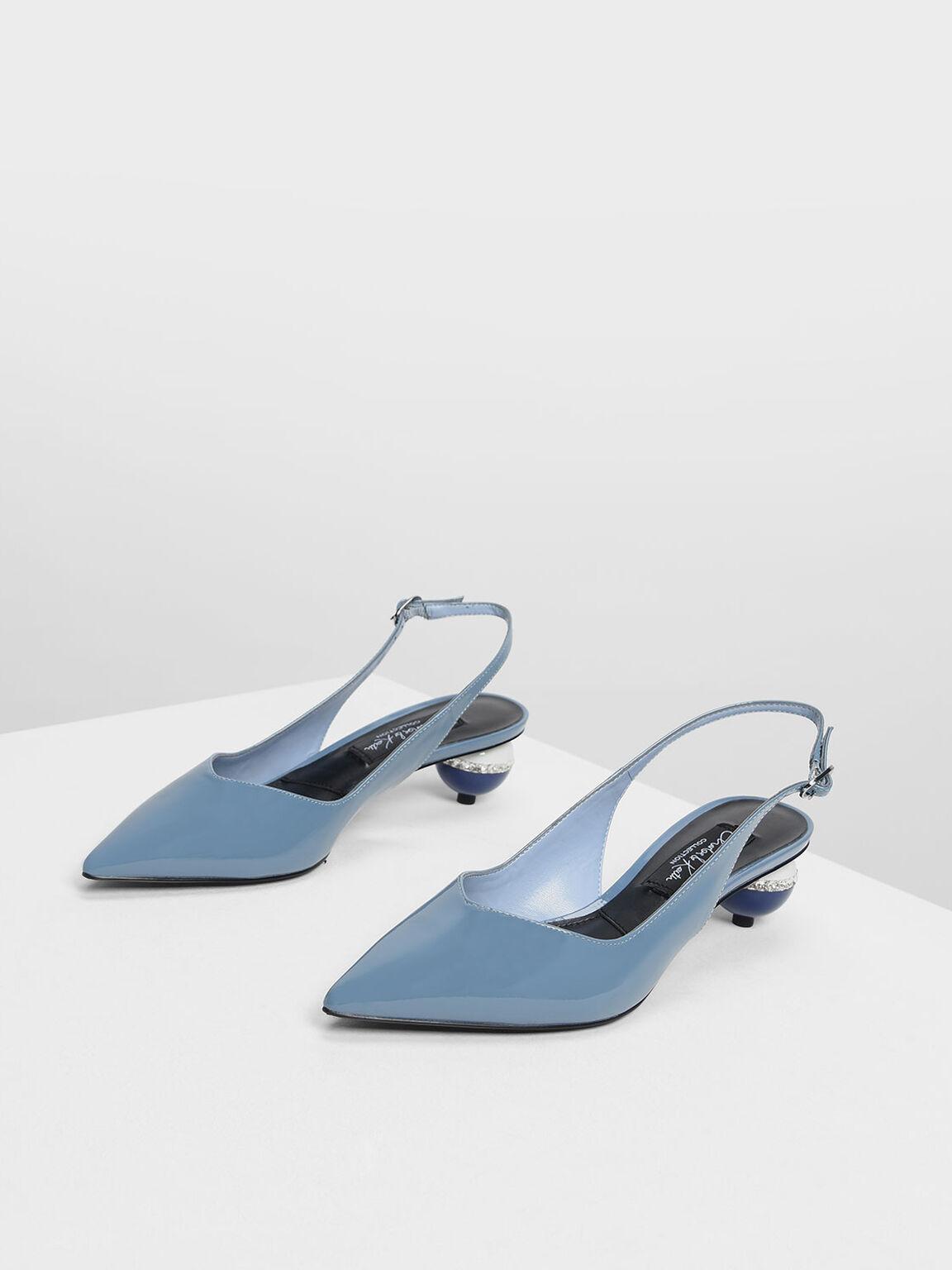 Leather Spherical Slingback Heels, Blue, hi-res