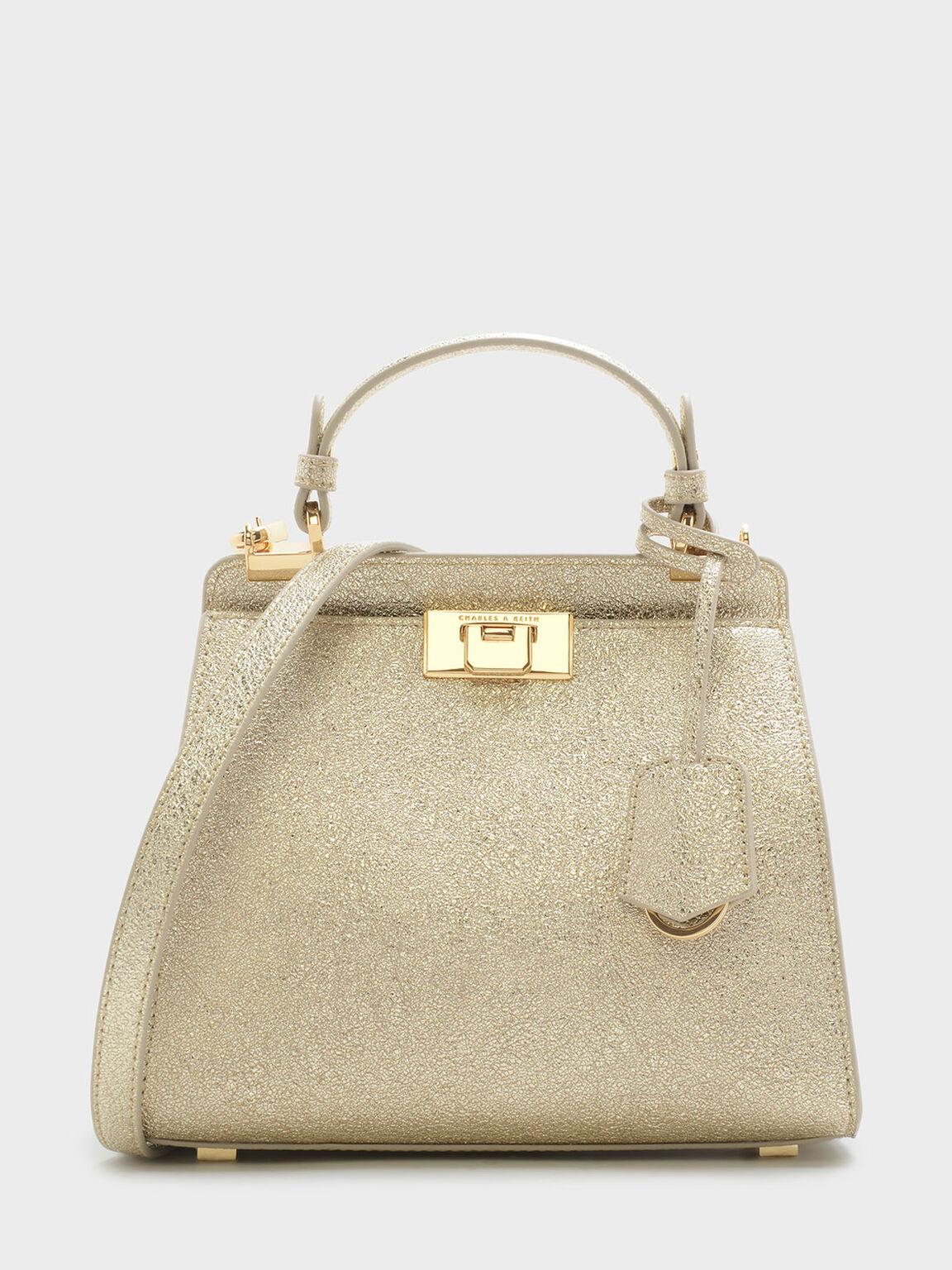 稜角設計壓扣式手提包, 金色, hi-res