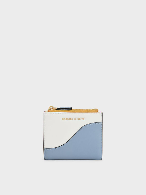 Two-Tone Top Zip Mini Wallet, Denim Blue, hi-res