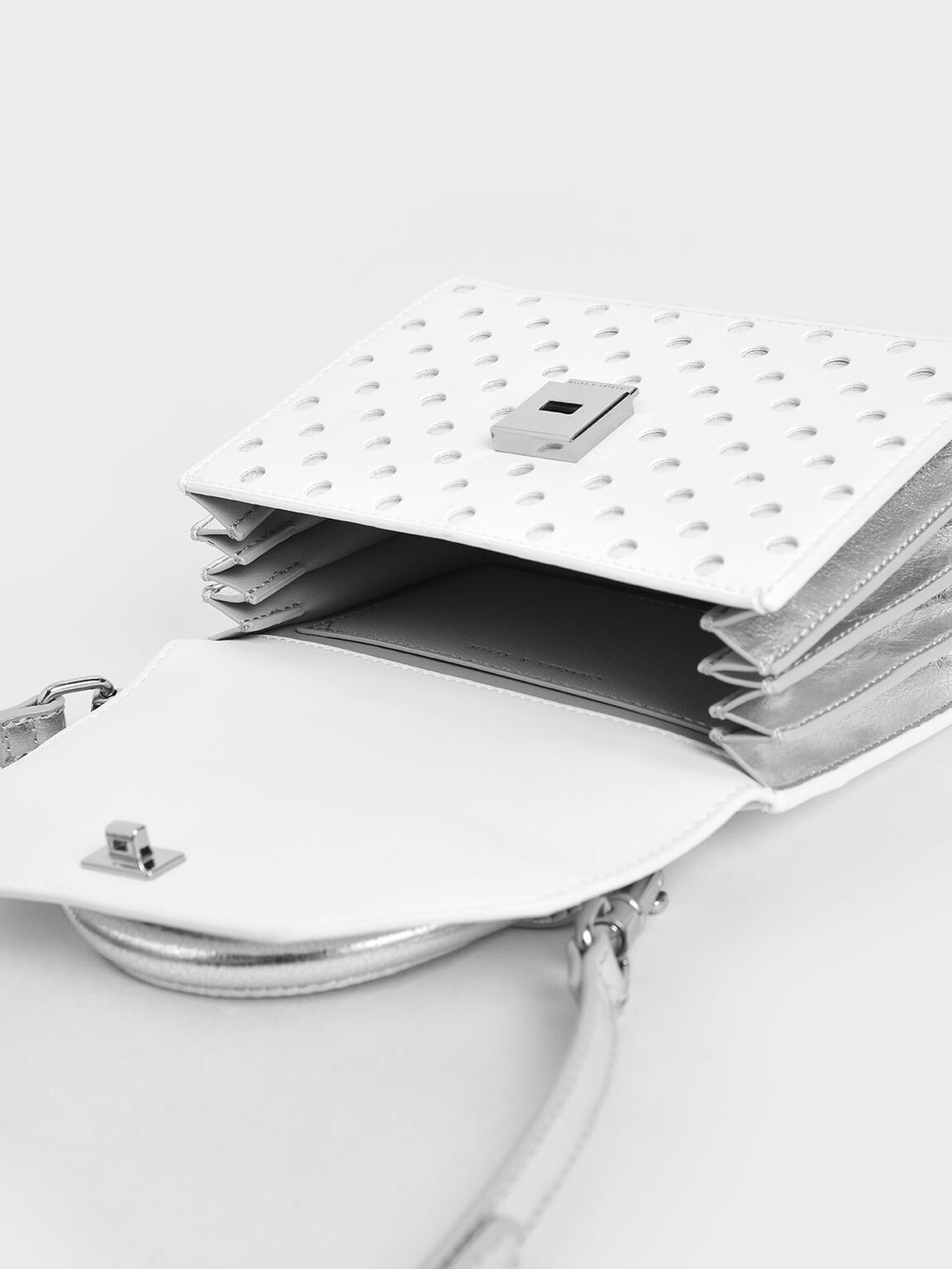 Laser-Cut Small Top Handle Bag, White, hi-res