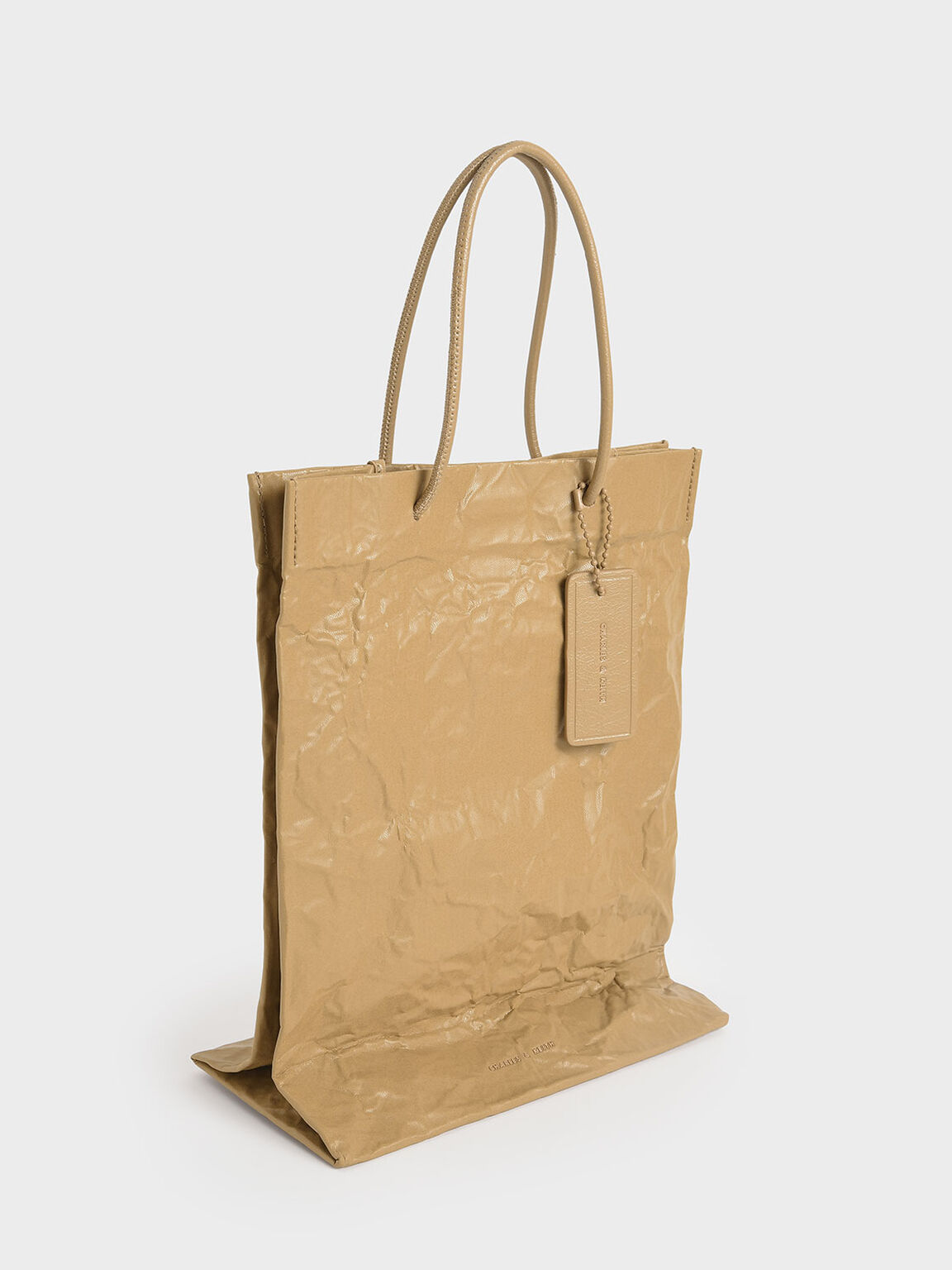 Crumpled-Effect Tote Bag, Nude, hi-res