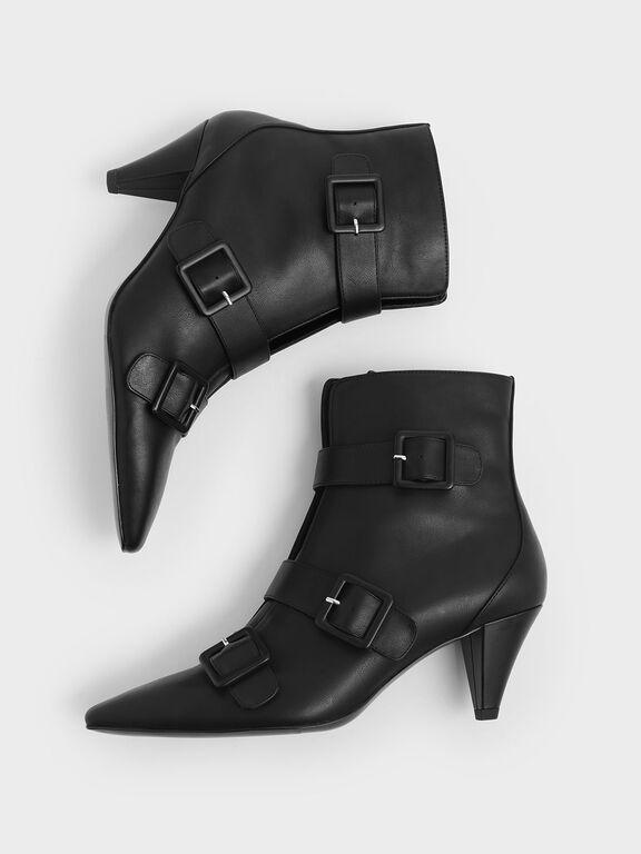 Buckle Strap Corduroy Cone Heel Ankle Boots, Black, hi-res