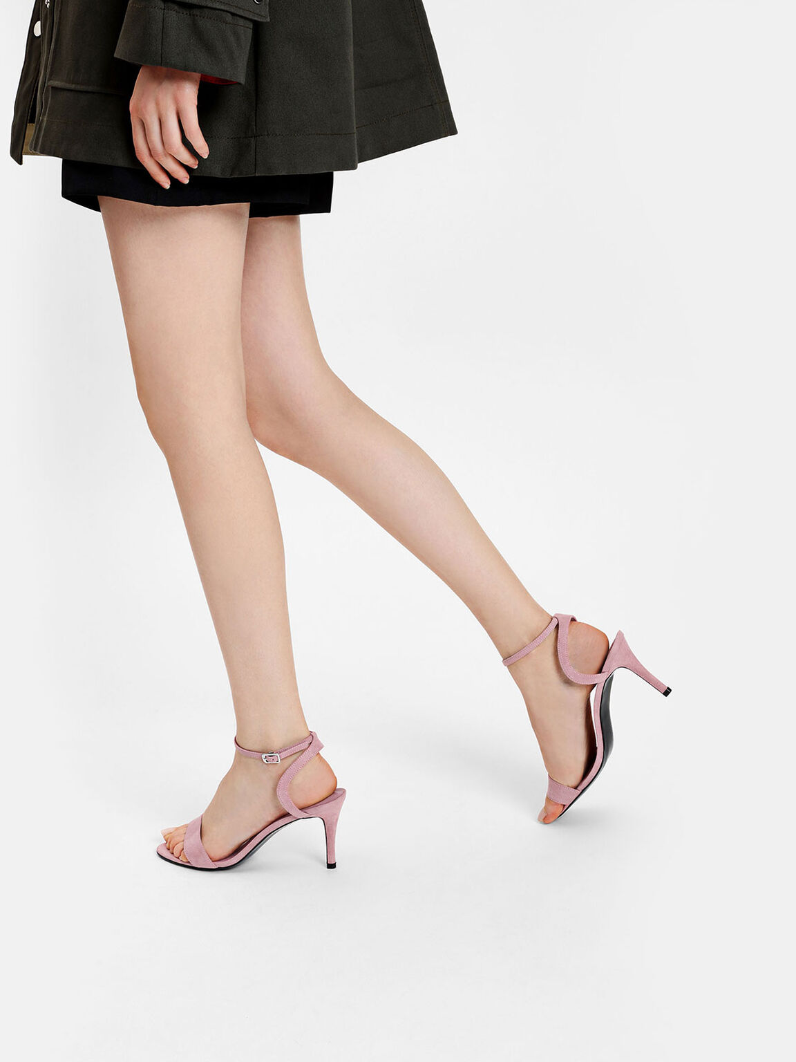 Ankle Strap Heeled Sandals, Pink, hi-res