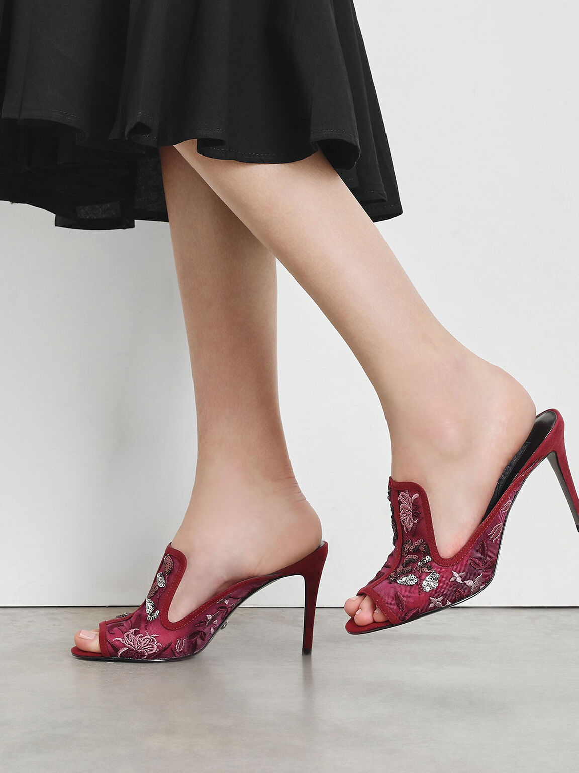 刺繡穆勒高跟鞋, 深紫紅, hi-res