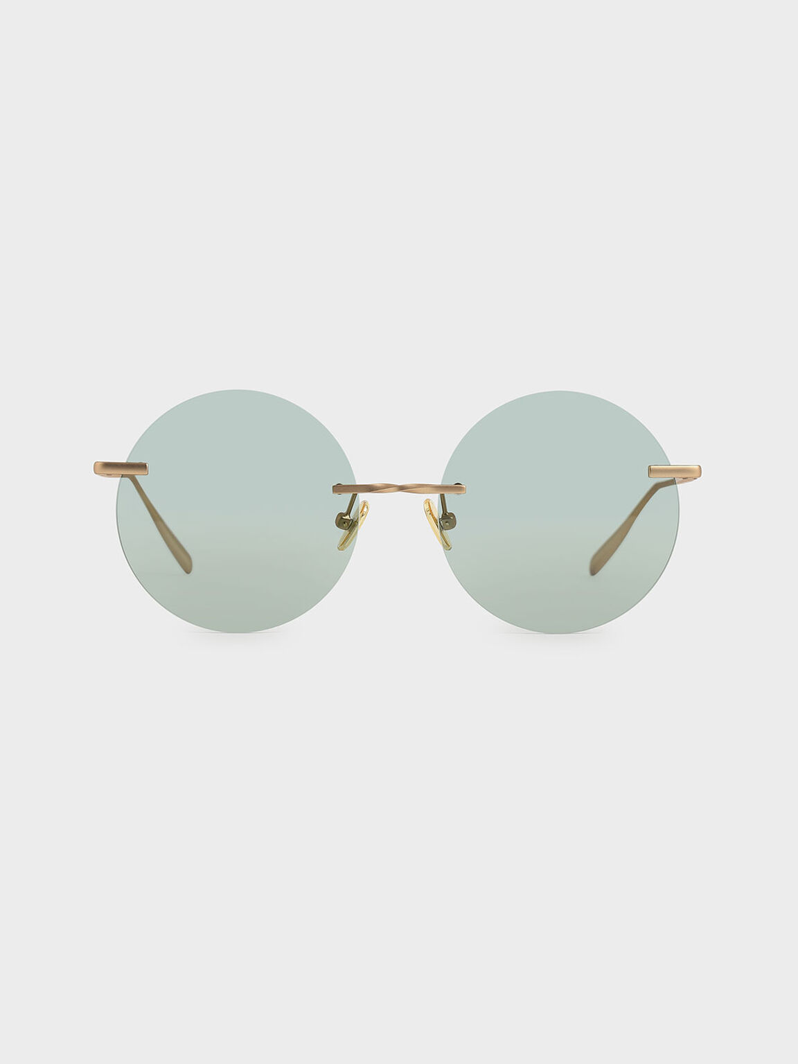 Round Rimless Sunglasses, Green, hi-res