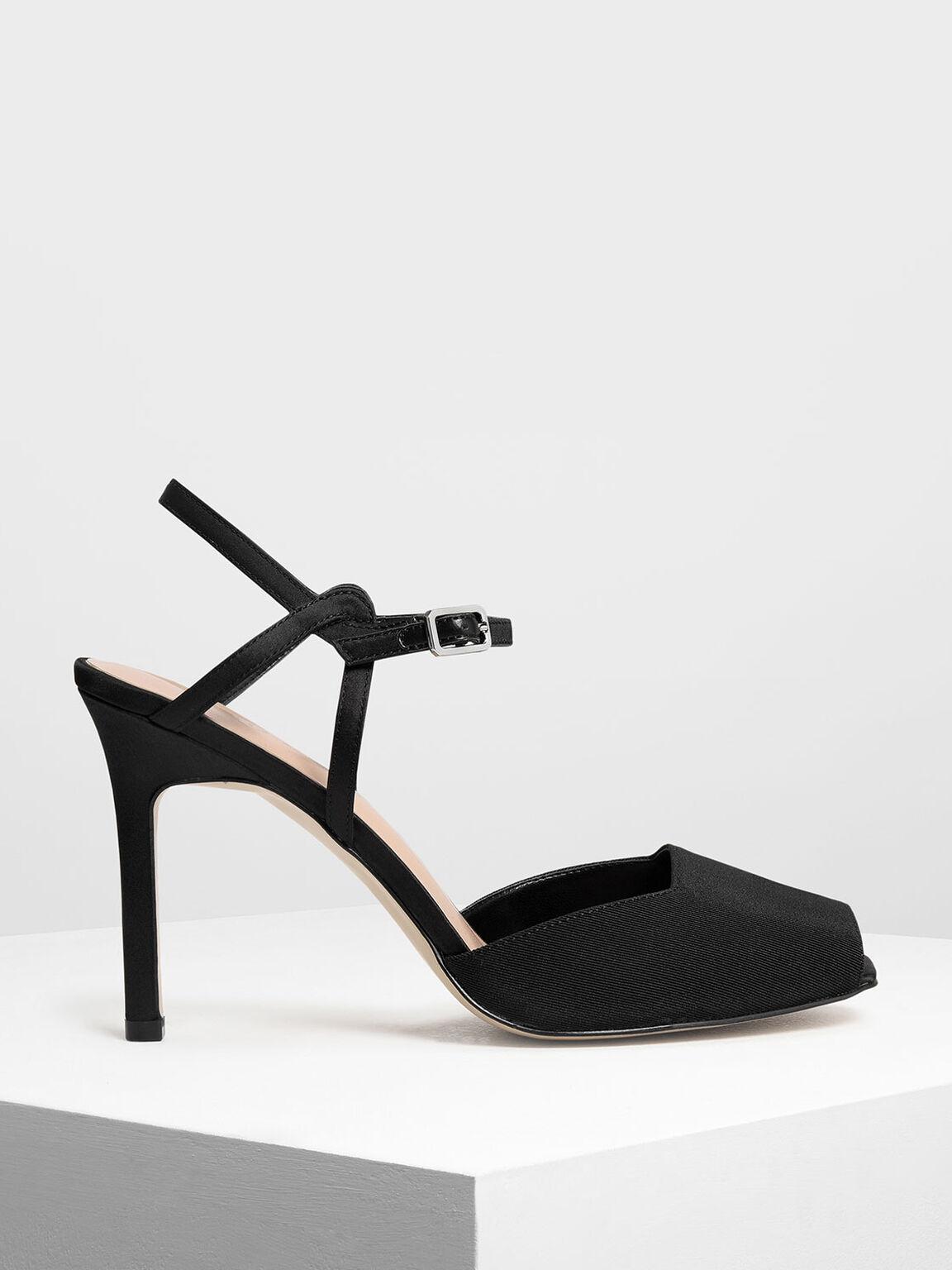Peep Toe Satin Heeled Sandals, Black, hi-res